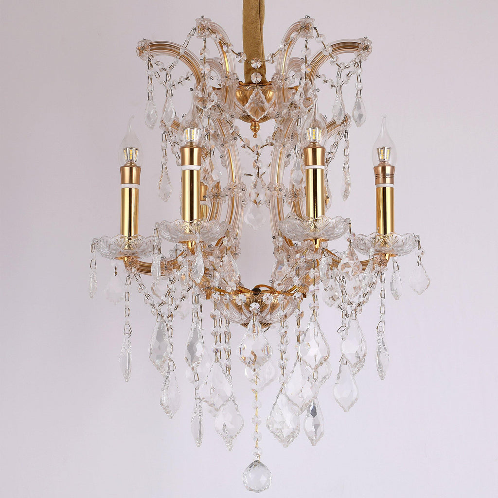 Ankur Vegas 6 Light Golden Arms Crystal Chandelier - Ankur Lighting