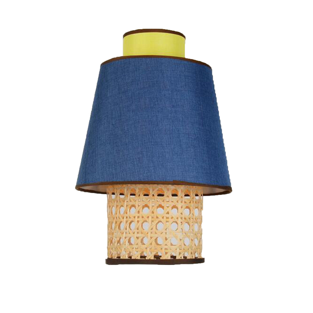 Ankur Retro Natural Bamboo Cane and Fabric Pendant Light Blue