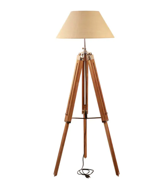 Ankur Tripod Wooden and Shade Floor Lamp