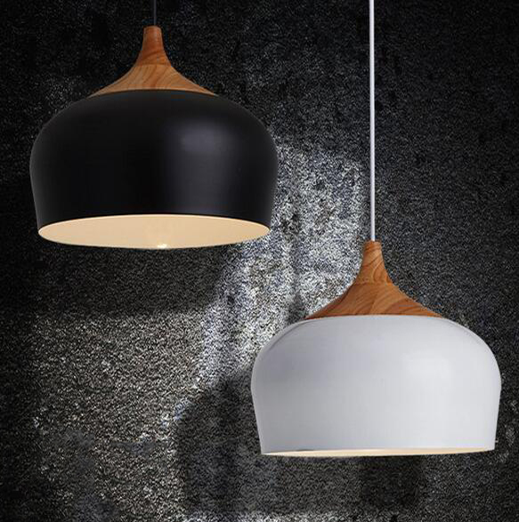 Ankur Modern Nordic Dome with Natural Wood Pendant Light