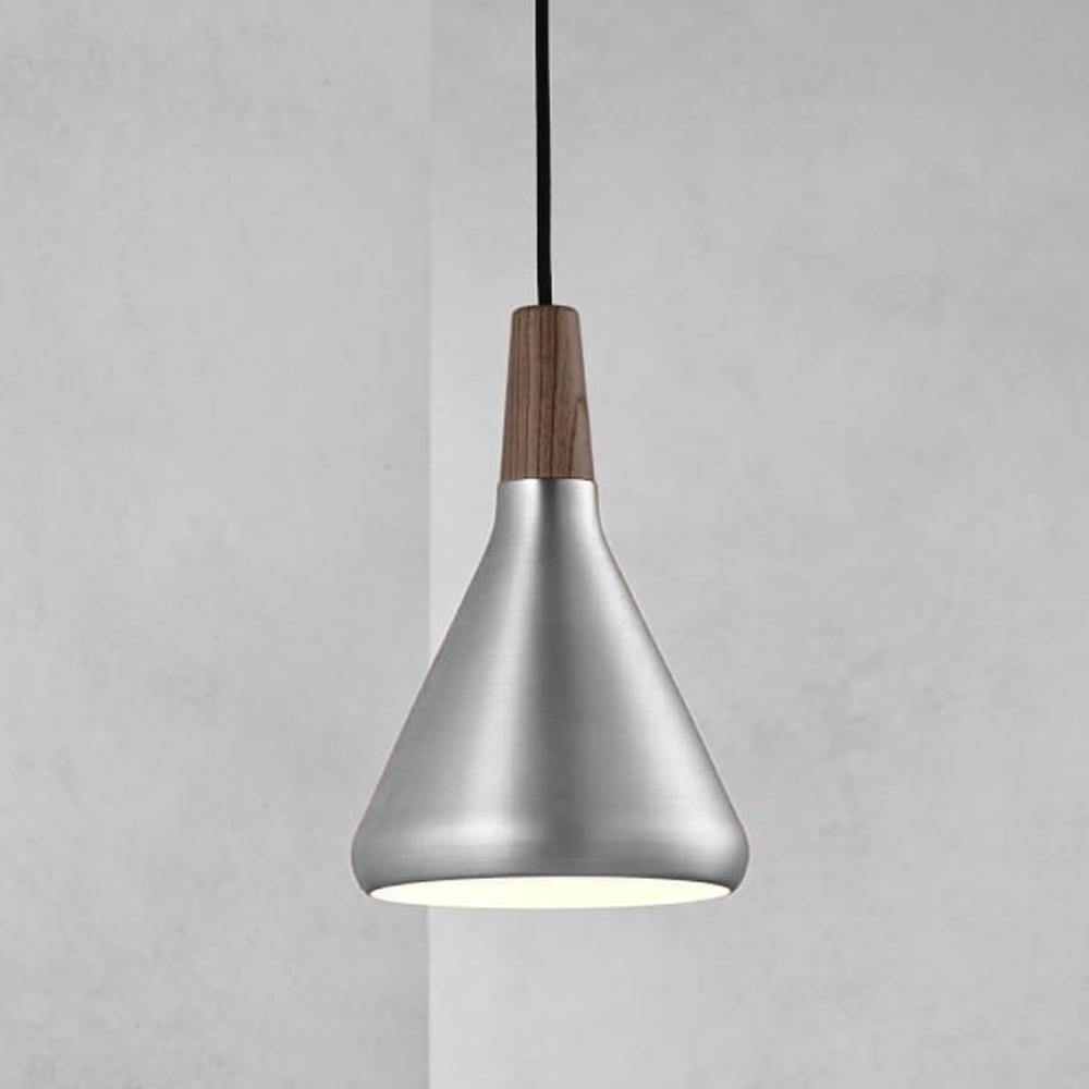 Ankur Nordic Cone Piccolo Brushed SS finish with Wood Hanging Light - Ankur Lighting