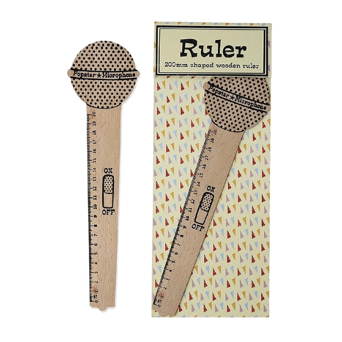 Popstar Microphone Wooden Ruler - Oh Happy Fry - we ship worldwide