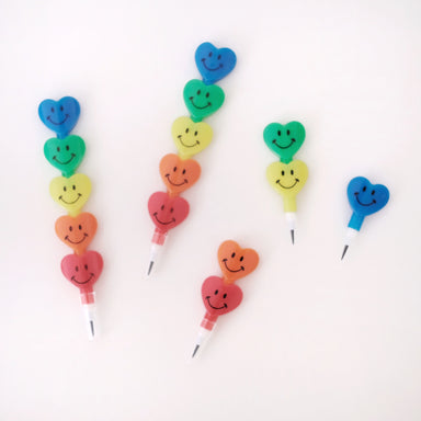 Heart Shaped Smiling Stacking Pencil - Oh Happy Fry - we ship worldwide