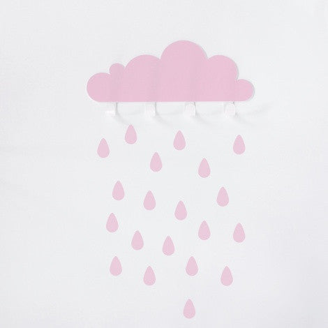 Pink Big Cloud & 20 Rain drops - Oh Happy Fry - we ship worldwide