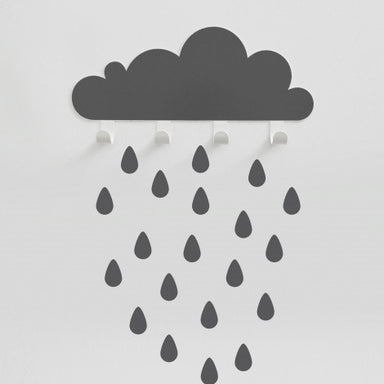 Grey Big Cloud & 20 Rain drops - Oh Happy Fry - we ship worldwide