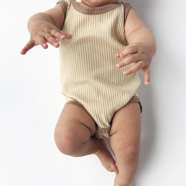 Retro Ribbed Onesie - Clay Beige