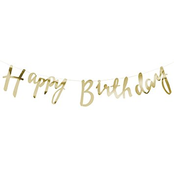 Gold Happy Birthday Banner - Oh Happy Fry - we ship worldwide