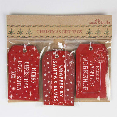 Red Santas Workshop Gift Tags - Set of 15pcs