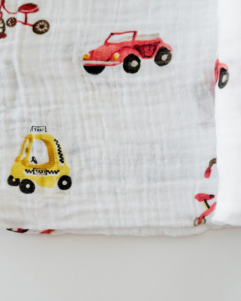 Cotton Muslin Swaddle - Transportation - Oh Happy Fry - we ship worldwide
