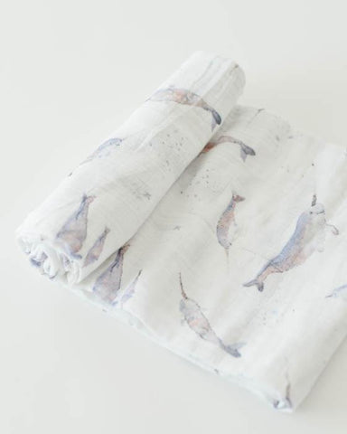 Cotton Muslin Swaddle - Narwhal - Oh Happy Fry - we ship worldwide
