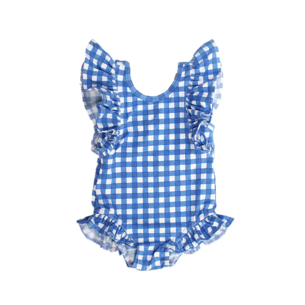 Blue Check Ruffles One Piece