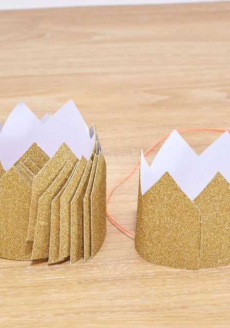 Mini Gold Glittered Crowns - set of 8