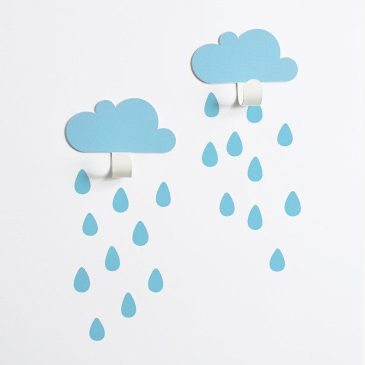 Blue 2 Clouds + 20 Rain drops - Oh Happy Fry - we ship worldwide