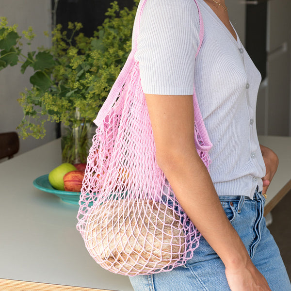 Pink French Style String Shopping Bag