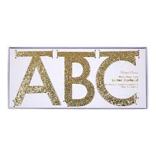 Gold Glitter Letter Garland Kit