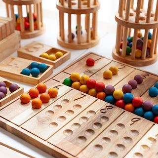 Montessori Counting Board with Wooden Marbles