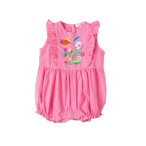 Fiore Embroidered Romper Rose