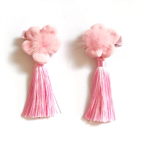 Flower Pom Hair Clip - Oh Happy Fry - we ship worldwide