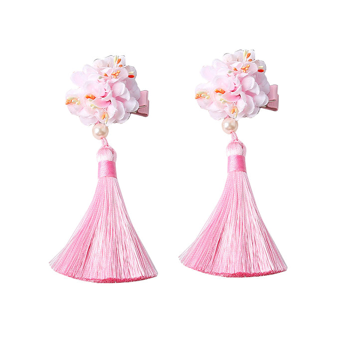 Flower Tassel Hair Clip - Pink - Oh Happy Fry - we ship worldwide