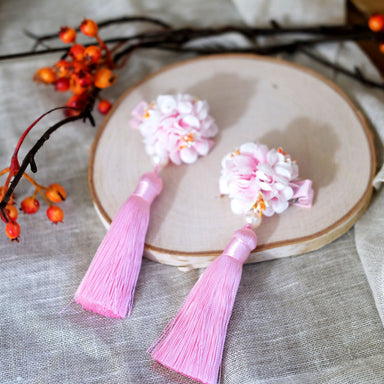 Flower Tassel Hair Clip - Lemonade Pink - Oh Happy Fry - we ship worldwide