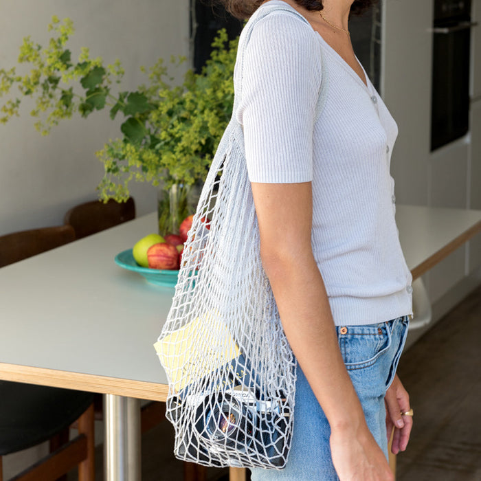 Grey French Style String Shopping Bag - Oh Happy Fry - we ship worldwide