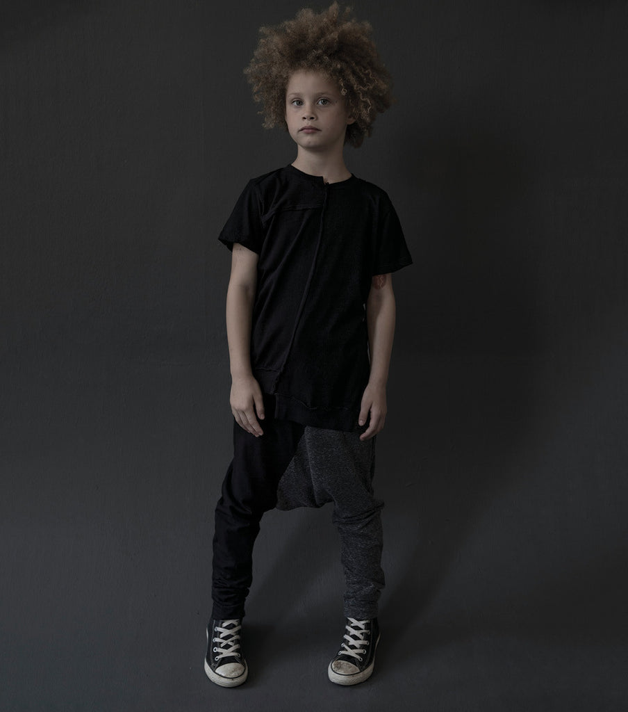 1/2 & 1/2 Baggy Pants - Black & Charcoal - Oh Happy Fry  - 2
