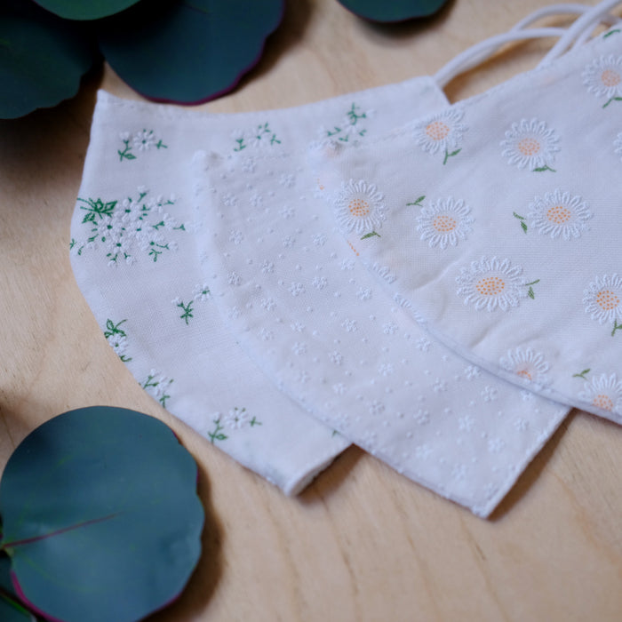 PREORDER Adult Cotton Lace Mask - Green Bouquet