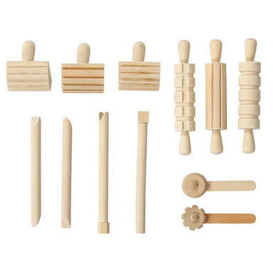 Wooden Playdough Tool Kit - 12 pieces - Oh Happy Fry - we ship worldwide