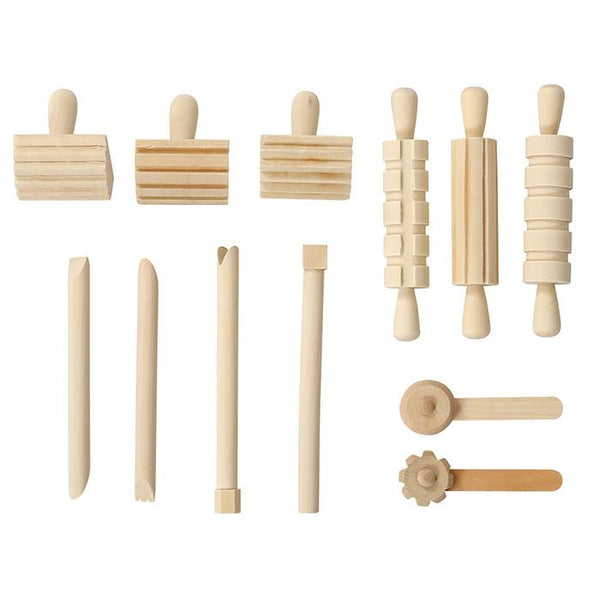 Wooden Playdough Tool Kit - 12 pieces