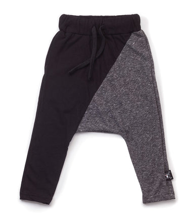 1/2 & 1/2 Baggy Pants - Black & Charcoal - Oh Happy Fry  - 1
