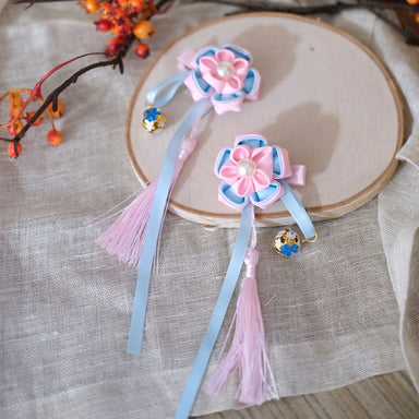 Flower Tassel Hair Clip - Blush + Sky - Oh Happy Fry - we ship worldwide