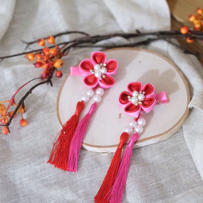 Flower Tassel Hair Clip - Rose - Oh Happy Fry - we ship worldwide