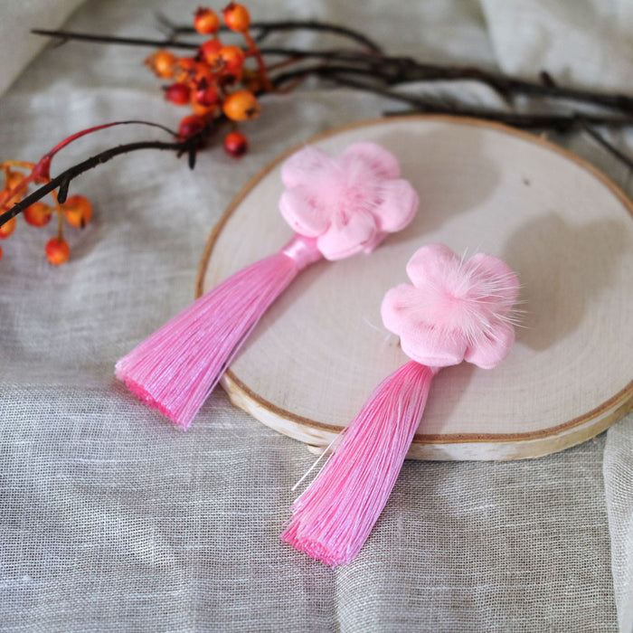 Cherry Flower Pom Hair Clip - Valentine Pink - Oh Happy Fry - we ship worldwide