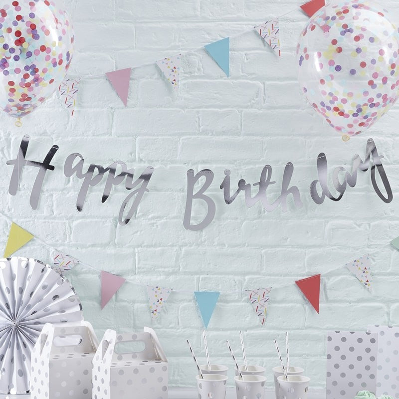 Silver Happy Birthday Banner - Oh Happy Fry - we ship worldwide