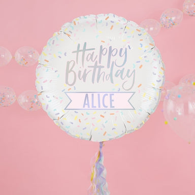 Customisable Iridescent Happy Birthday Foil Balloon - Oh Happy Fry - we ship worldwide