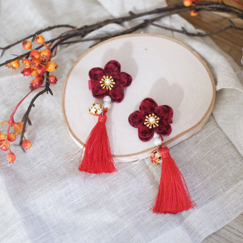 Flower Hair Clip - Scarlet Red - Oh Happy Fry - we ship worldwide