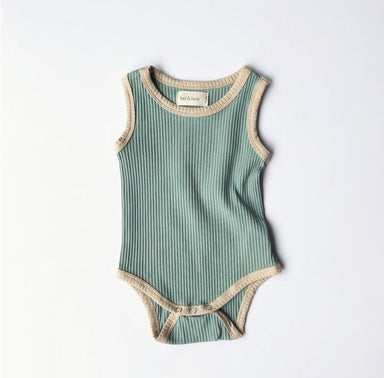 Retro Ribbed Onesie - Sea Mist Green - Oh Happy Fry