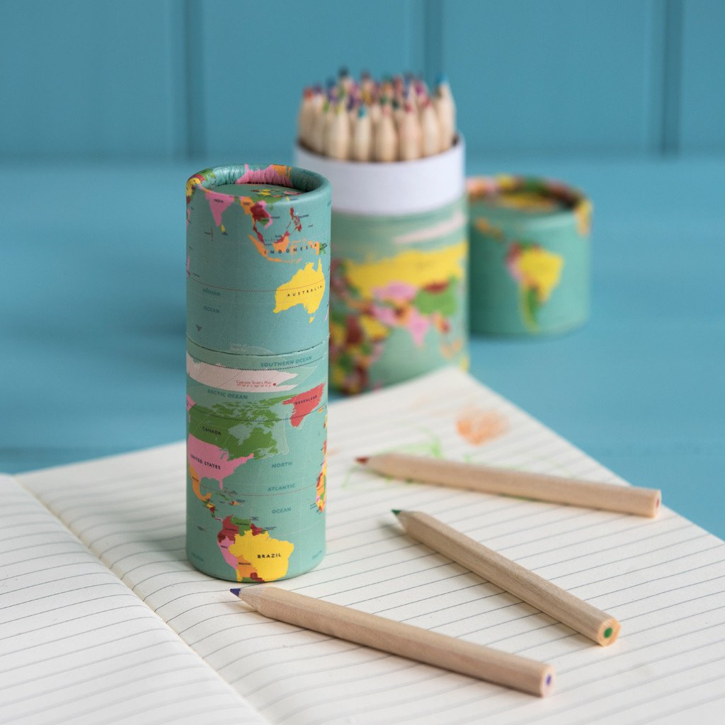 Set Of 12 World Map Colouring Pencils - Oh Happy Fry - we ship worldwide