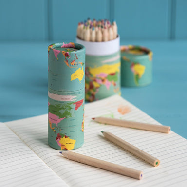 Set Of 12 World Map Colouring Pencils