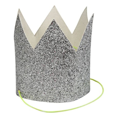 Mini Silver Glittered Crowns - set of 8