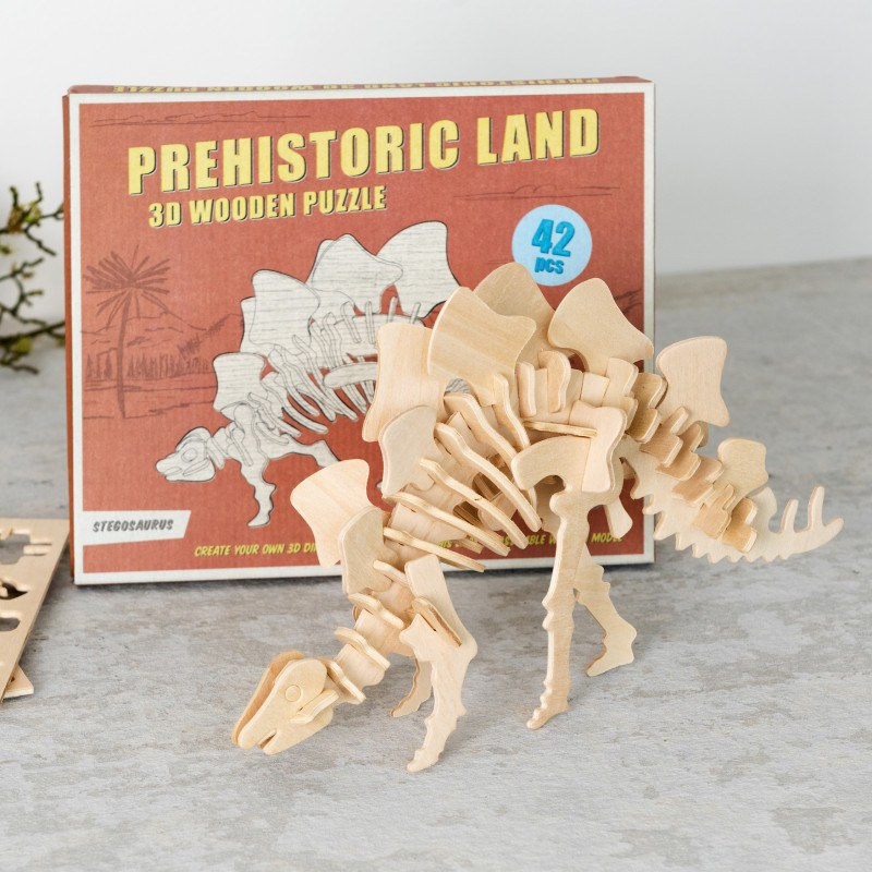 Stegosaurus 3D Wooden Puzzle - Oh Happy Fry - we ship worldwide