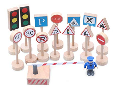 Wooden Traffic Signs Set
