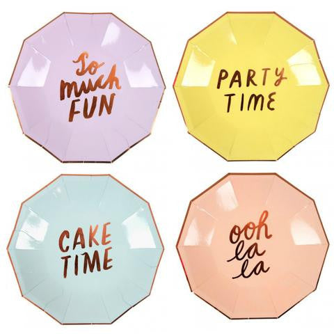 Small Typographic Party Plates - Pack of 8