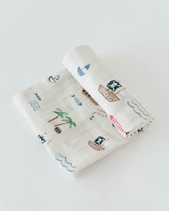 Cotton Muslin Swaddle - Treasure Map - Oh Happy Fry - we ship worldwide