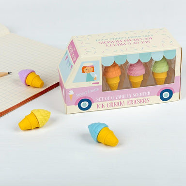 Scented Ice Cream Shaped Erasers (set Of 6) - Oh Happy Fry - we ship worldwide