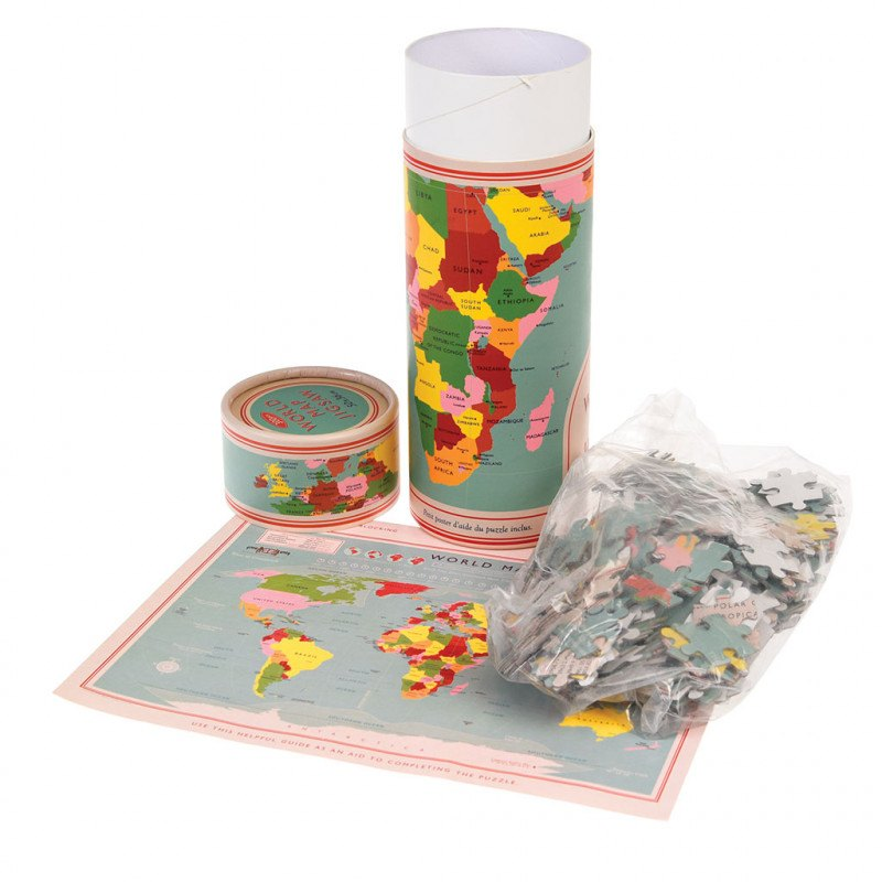 World Map 300- Piece Puzzle In A Tube - Oh Happy Fry - we ship worldwide