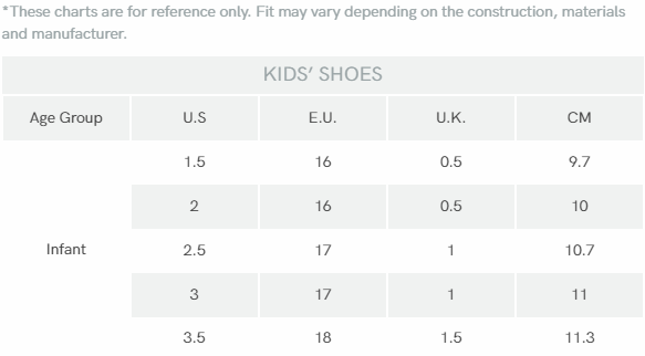Infant Shoe Size Chart (Cm)