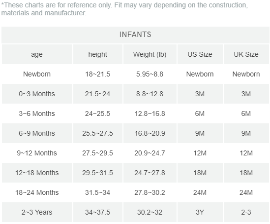 infant size chart inch