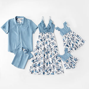 Mosaic Cotton Family Matching Floral Flounce Tank Dresses and Denim Tops