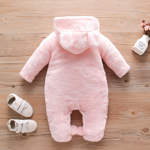 Baby Solid Fleece Rabbit Hooded Jumpsuit